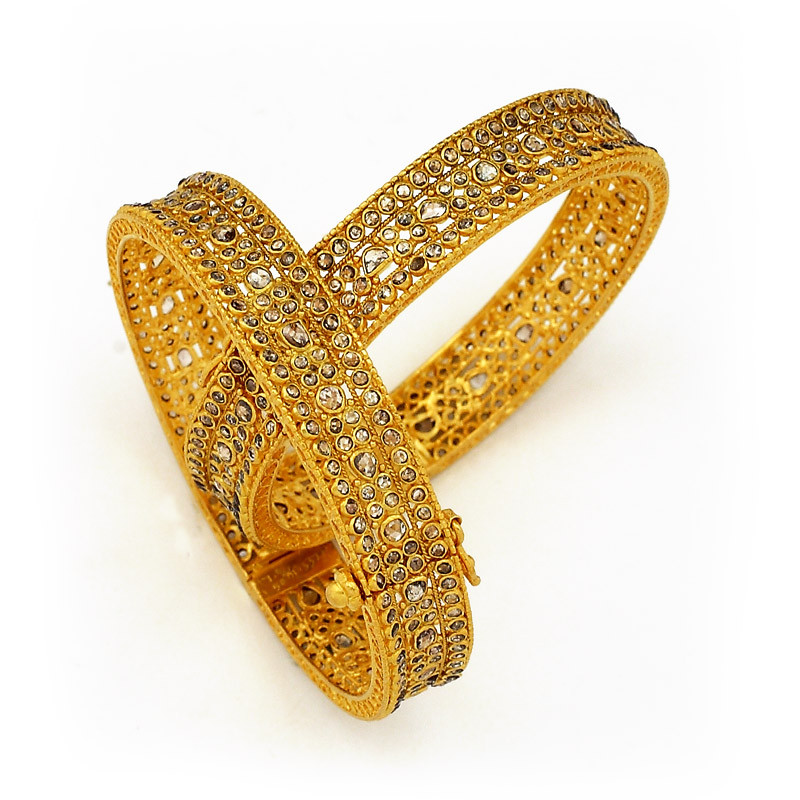 Nizam Collection - Uncut Diamond Bangles with Hinge and Hook Opening