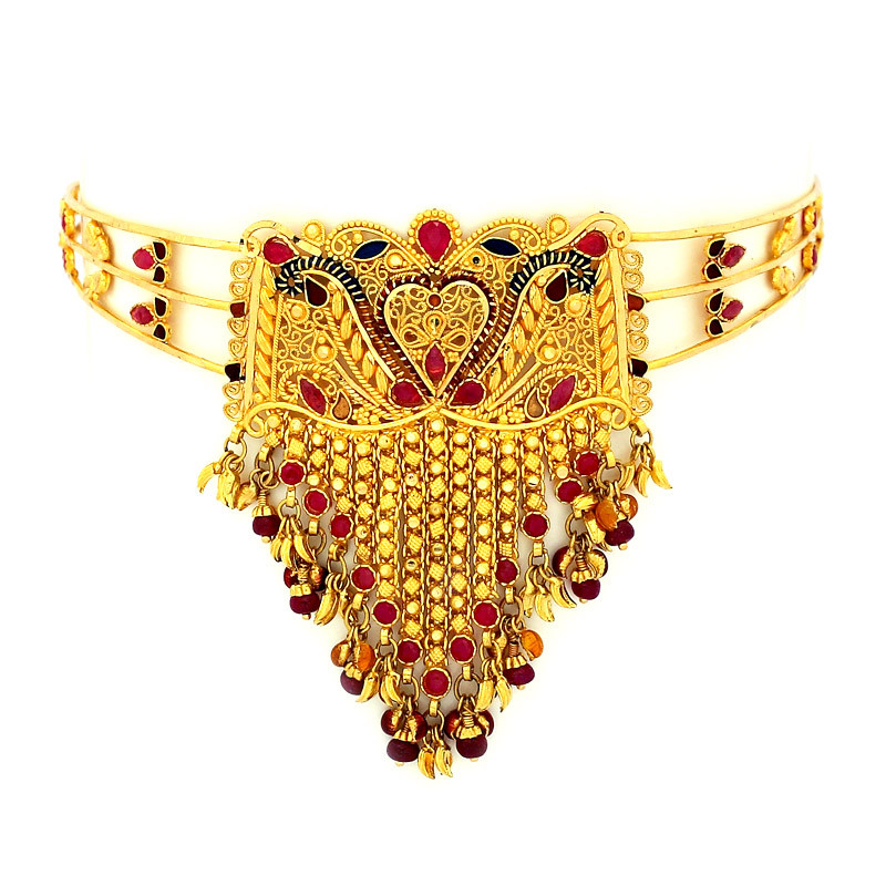 Bridal Armlet - Vanki with Ruby & Emerald Charms