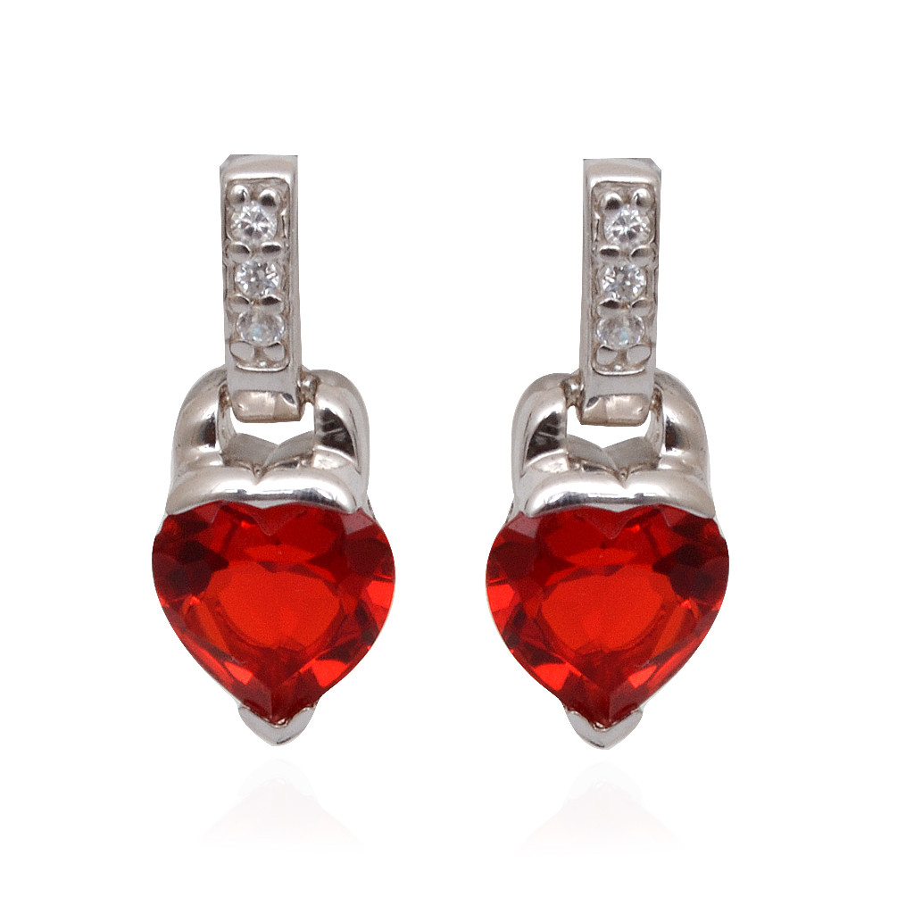 Hanging With Red Heart 925 Silver Earrings