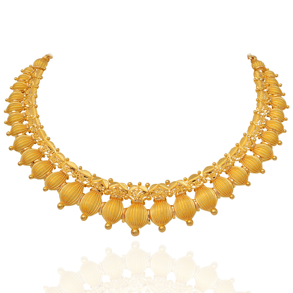 Gold necklace designs in grt jewellers - 47 71 Grams The Varika Choker Necklace