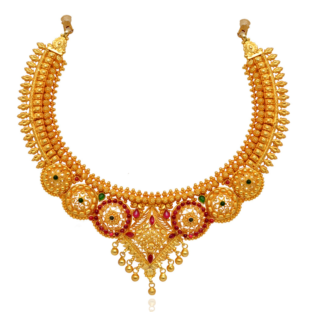 Necklace Beautifully Crafted Round Shape With Yellow