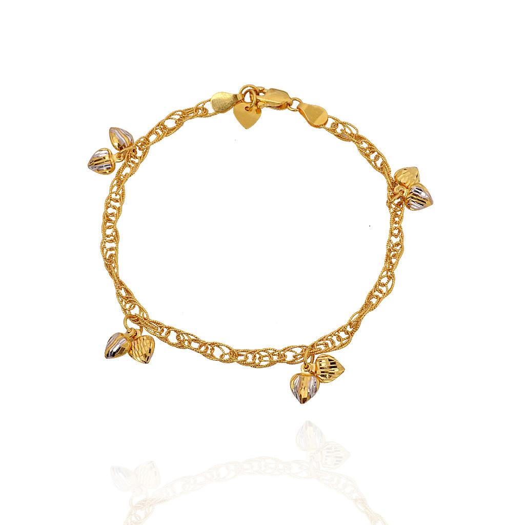 Romancing Couple Hearts Gold Bracelet - Gold - Material ...