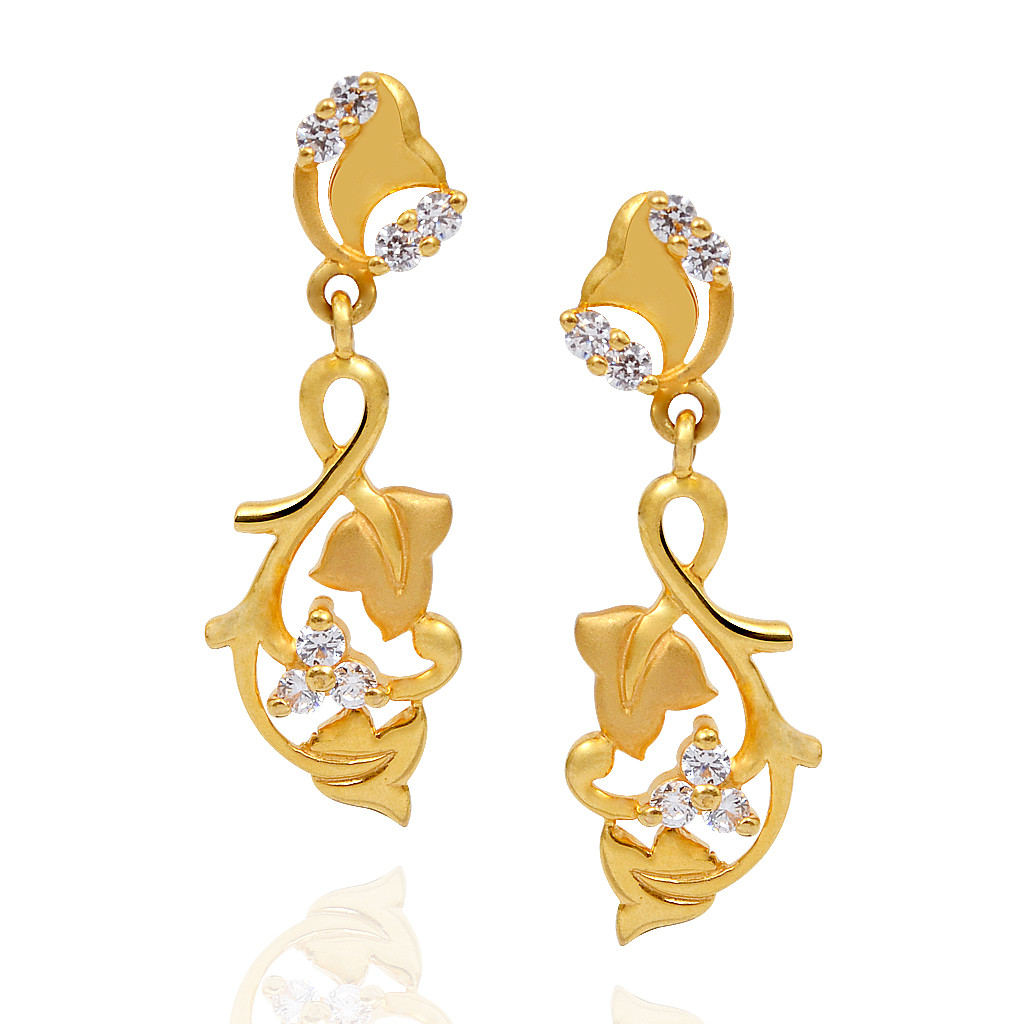 Gold Stylus Leaves and Wings Gleamy Earrings