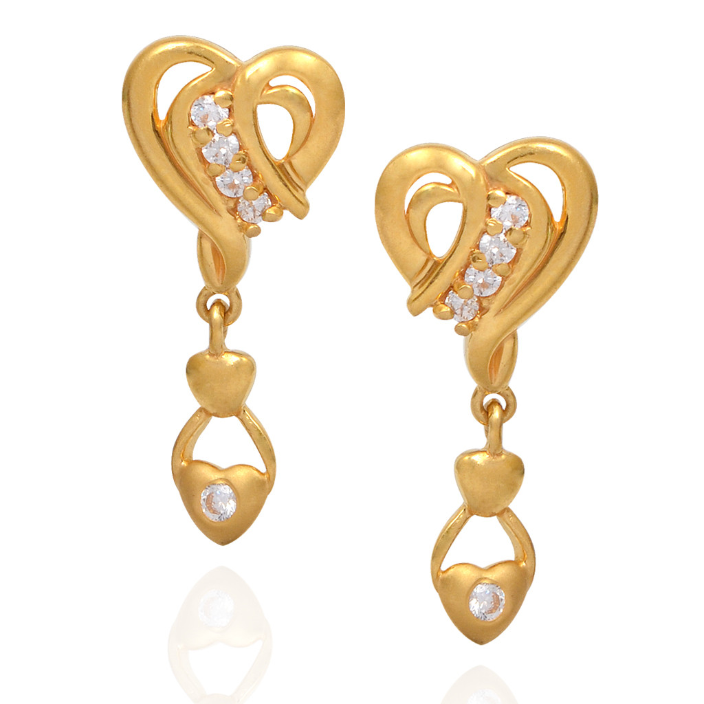 Gleamy Heart Gold Fancy Earrings