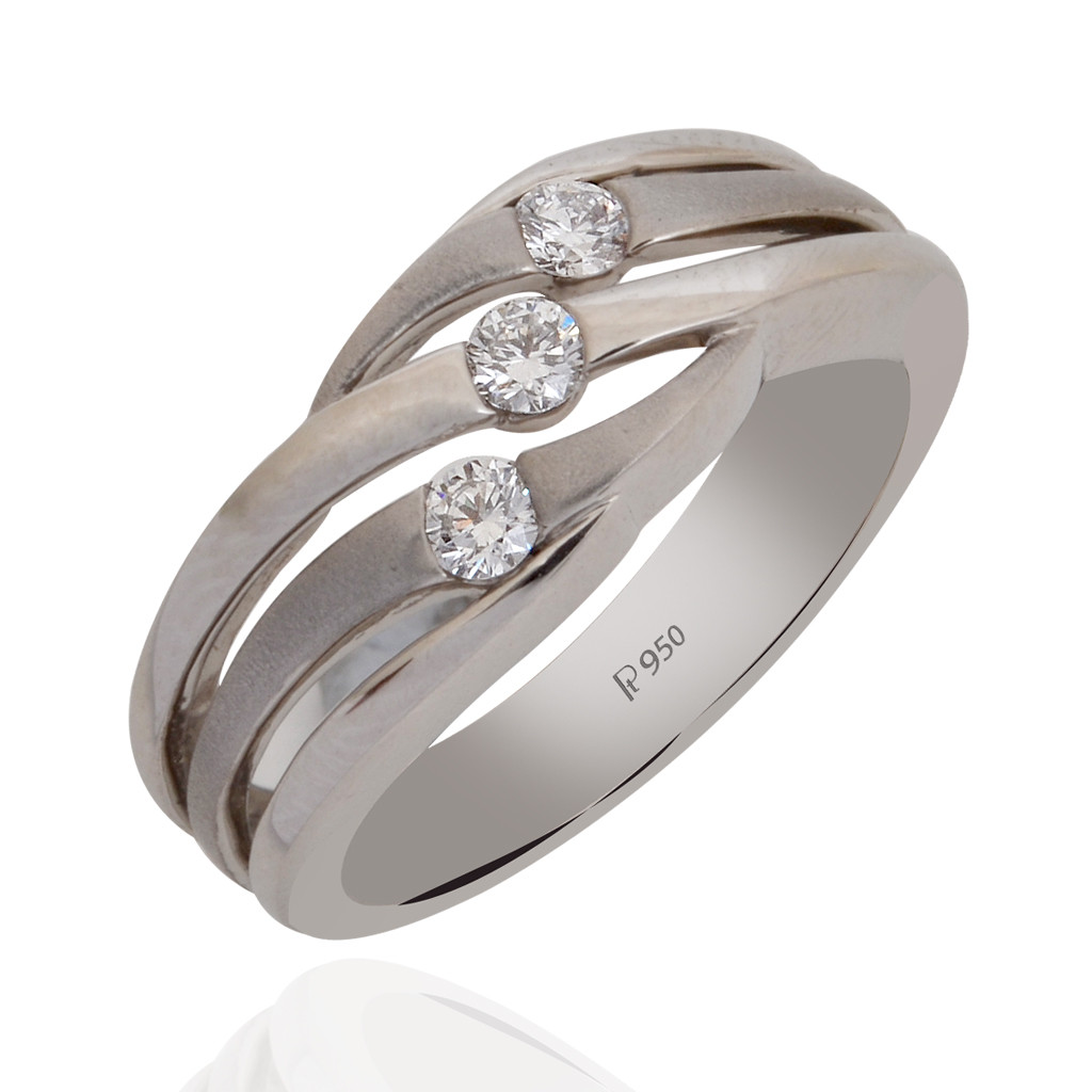 Platinum Wave Design Diamond Ring