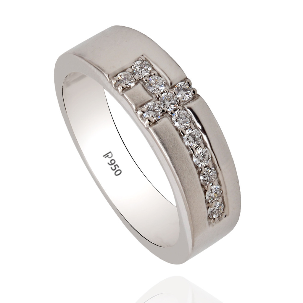 Platinum Band With Designed Channel Setting Ring