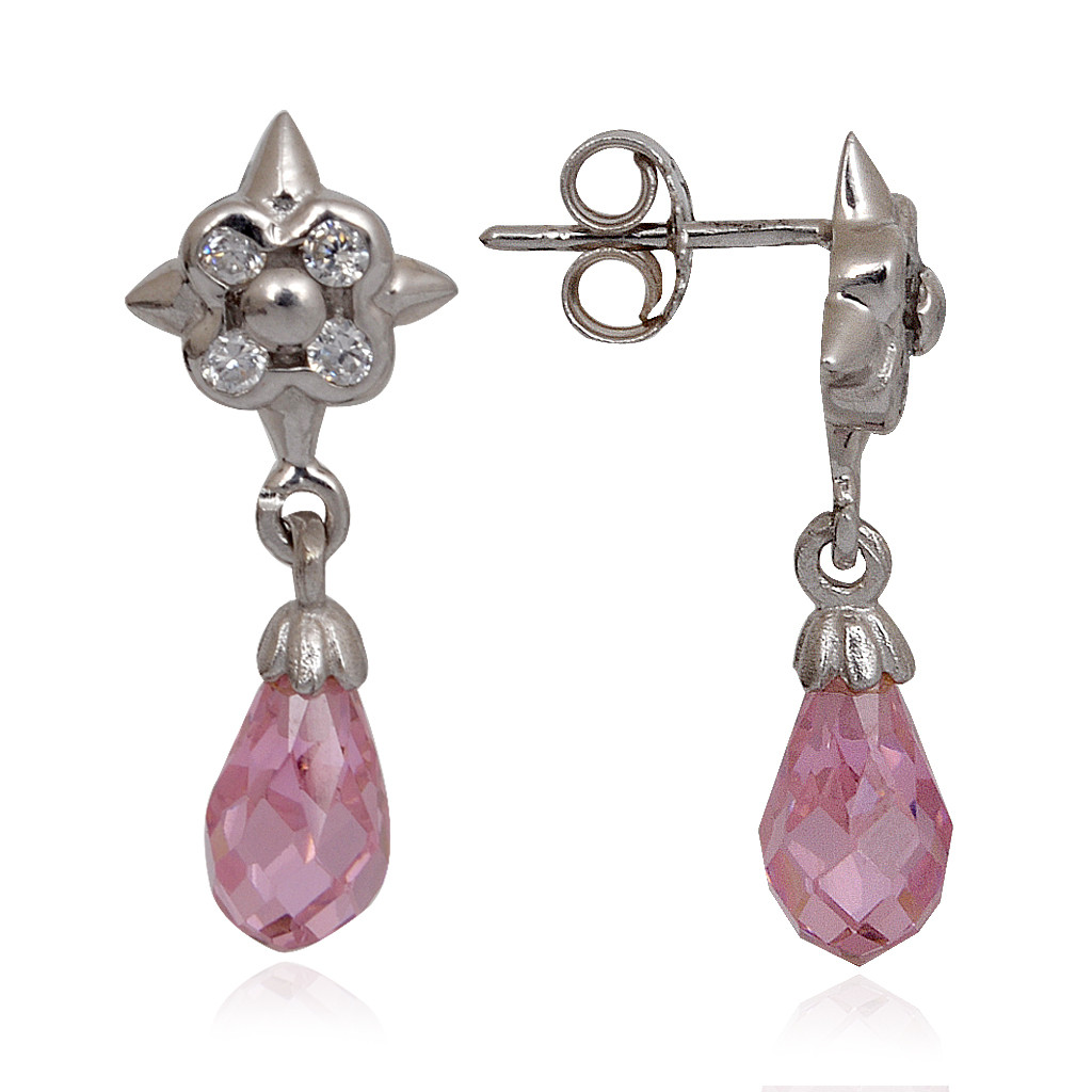 Pink Drop With Flower Hanging Silver Stud Earrings