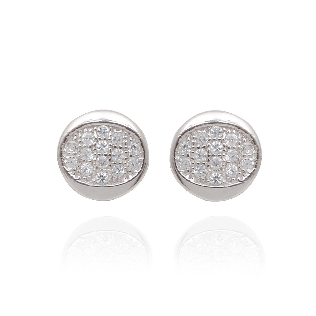 Circle With White Stone Studded Pave Setting Silver Earrings