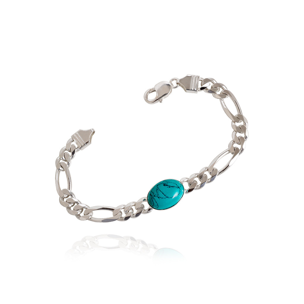 925 Celebrity Style Turquoise Color Stone Silver Bracelet