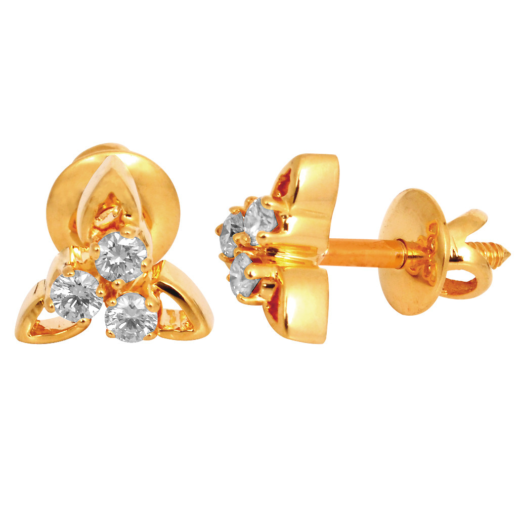 Elegance Three Leaf Diamond Studded Earrings