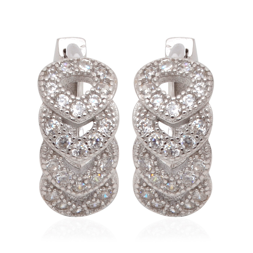 Beautifully White Stones Studded Designed Silver Earrings