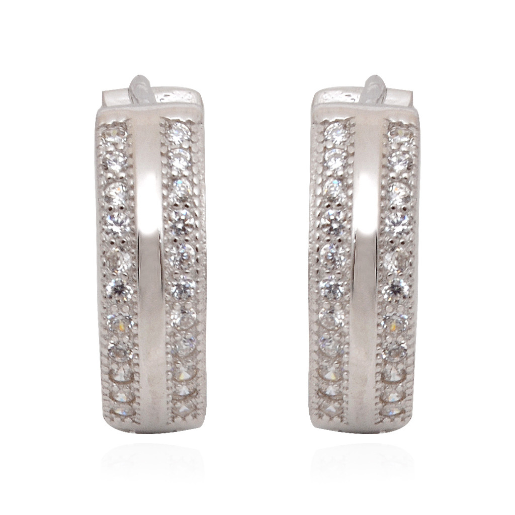 Fancy Double Layer White Stones Studded Silver Earrings