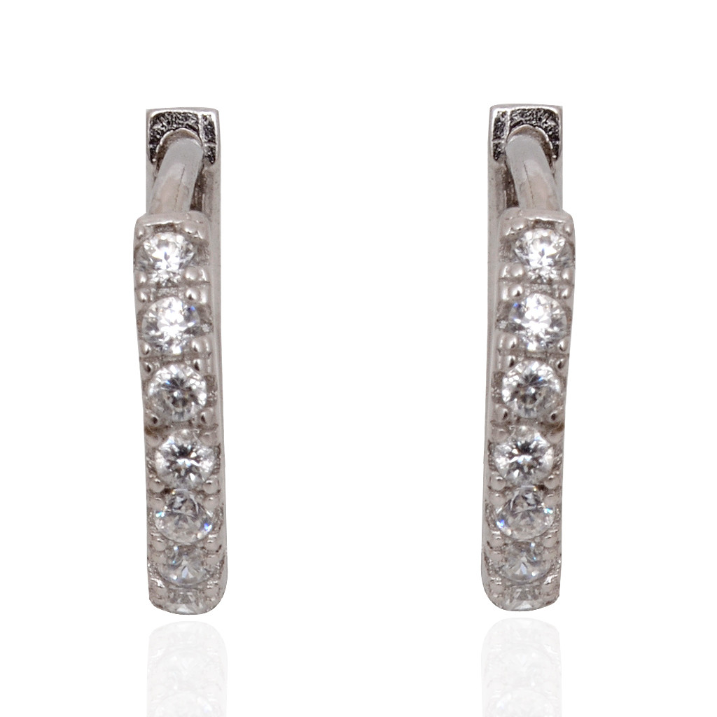 Stylish White Stones Studded Single Line Silver Earrings