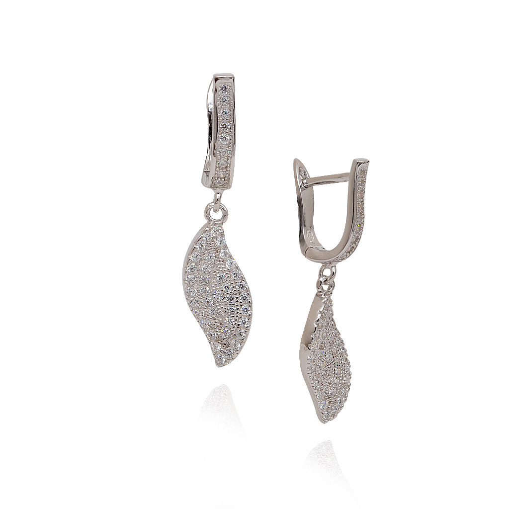 925 Silver Stones Studded Hanging Earrings