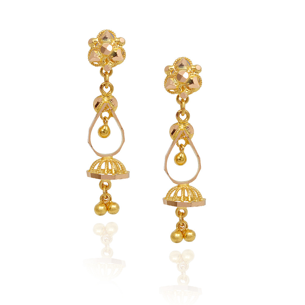 Earrings Dancing Balls With Hanging Ball Gold Jimmiki