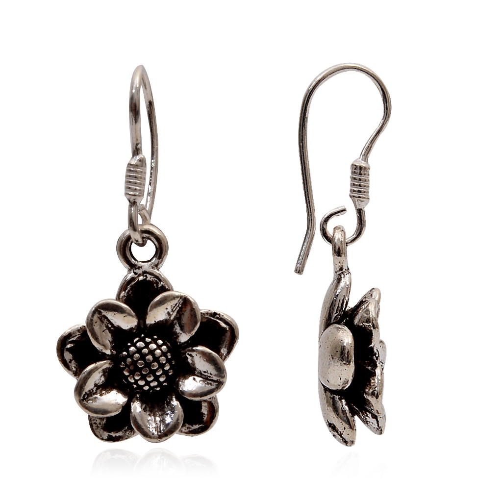 Antique Finish Silver Earrings