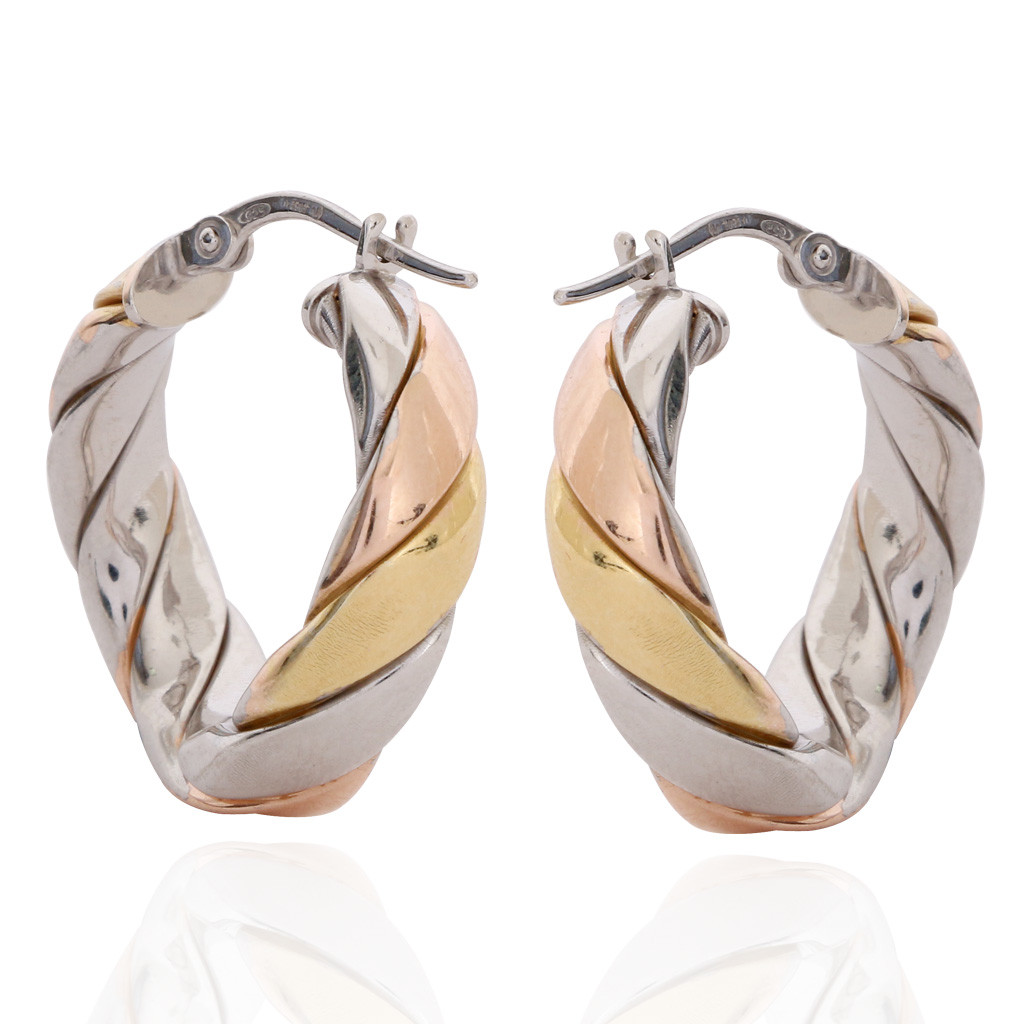 Duo Tone Twisted Rope Silver Earrings