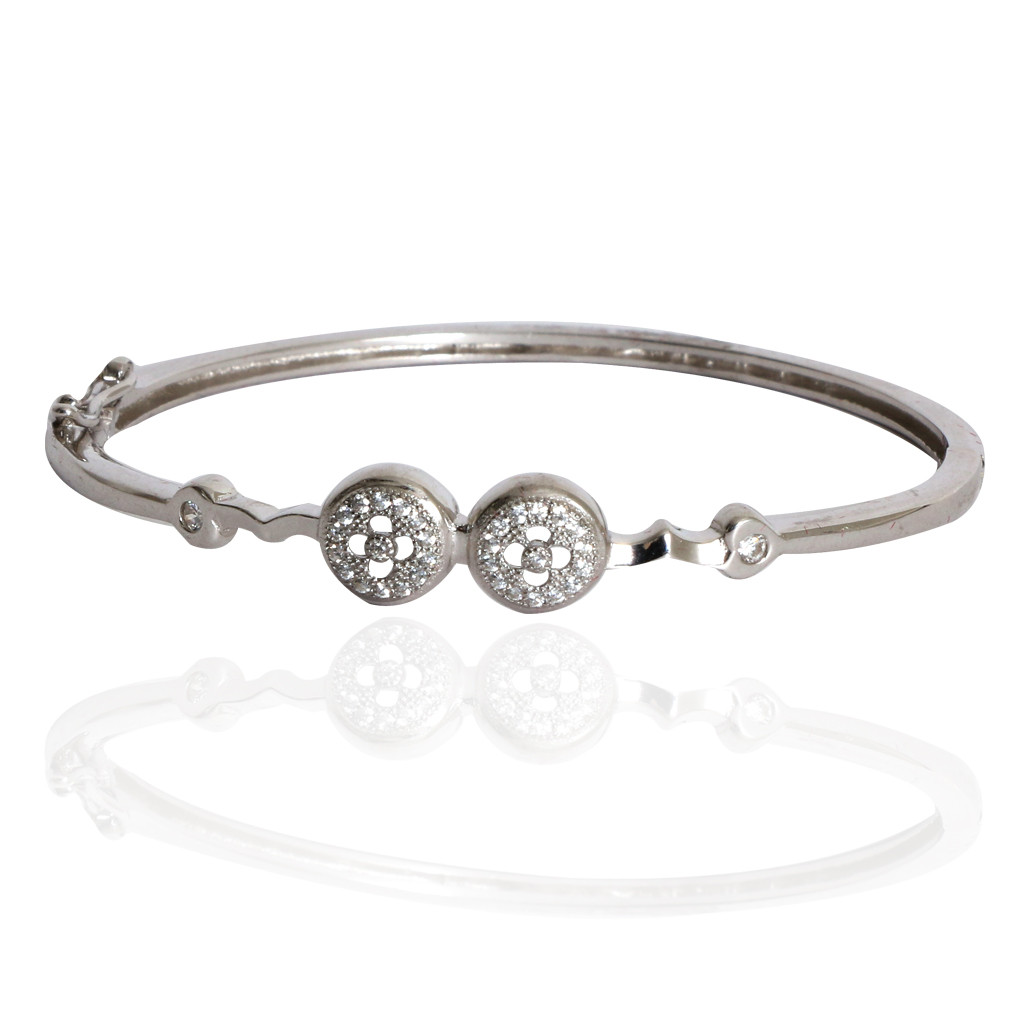 Twin Touch Stone Studded Silver Bracelet