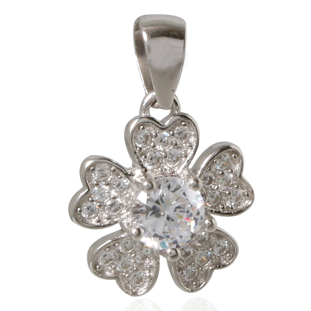 Stone Studded Floral Silver Pendant