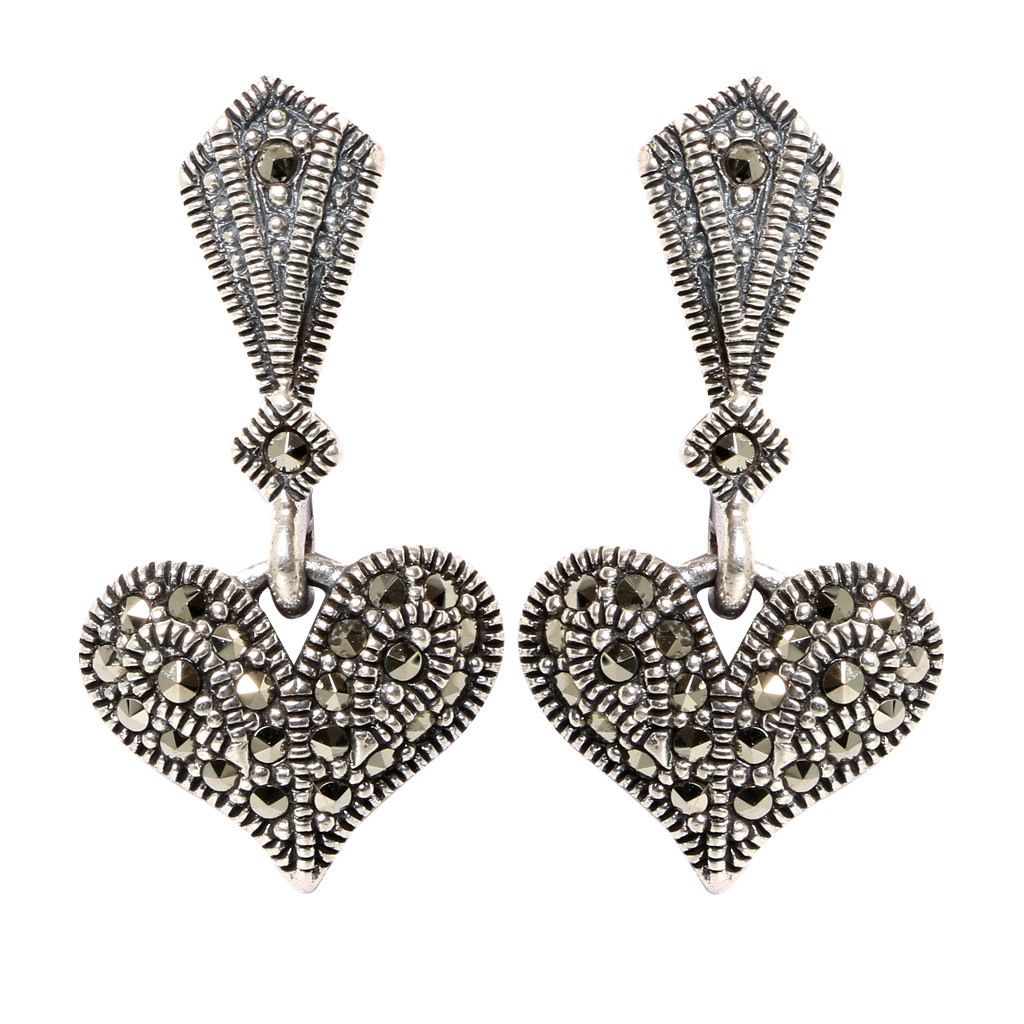 Antique Finish Silver Heart Pendant Set