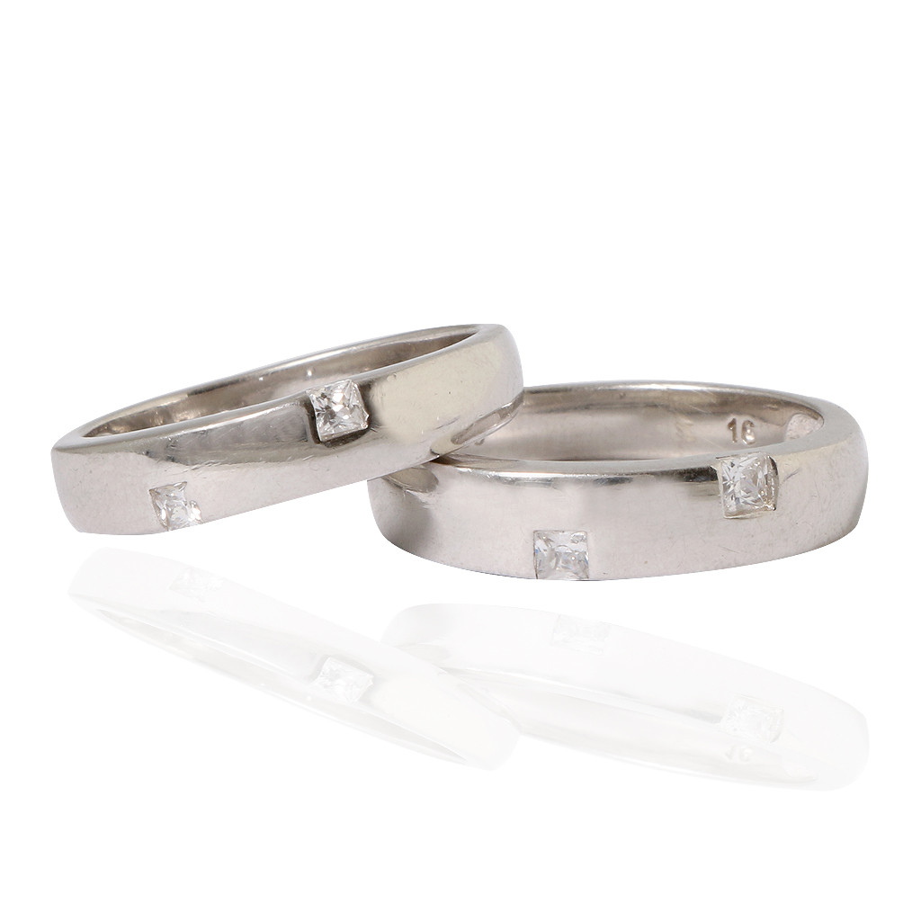 Couple Bands Silver Rings