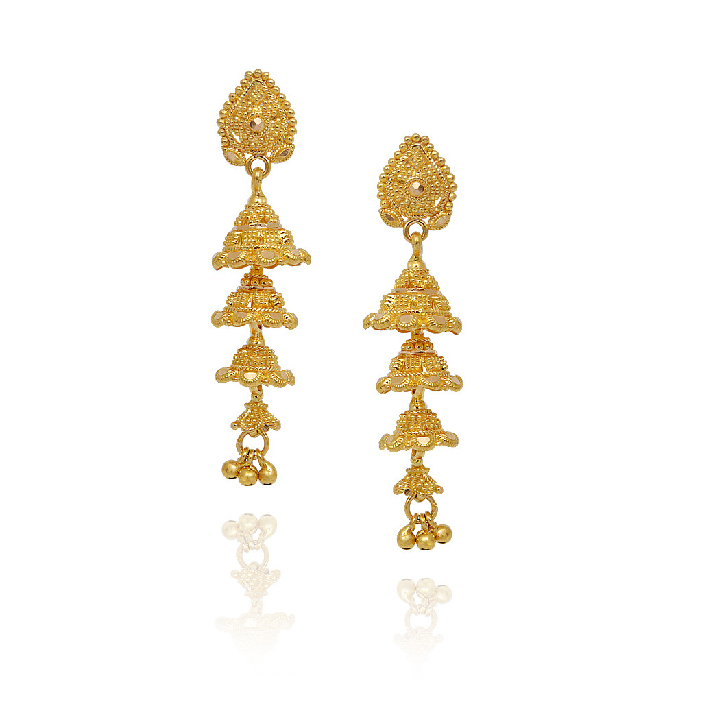 Earrings Chain Link Bell Shape With Gold Balls Jimmiki