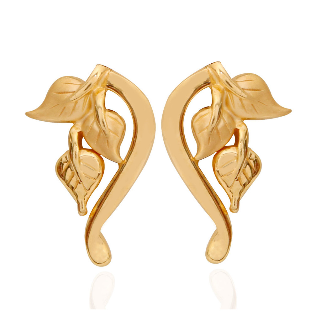 Cordate Leaf Gold Earrings