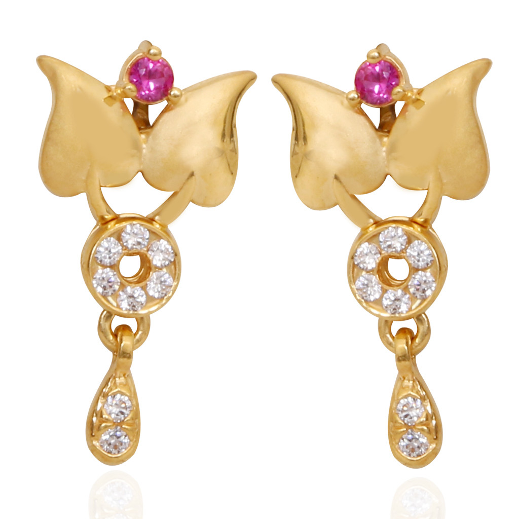 Stone Studded Twin Leaf Gold Earrings