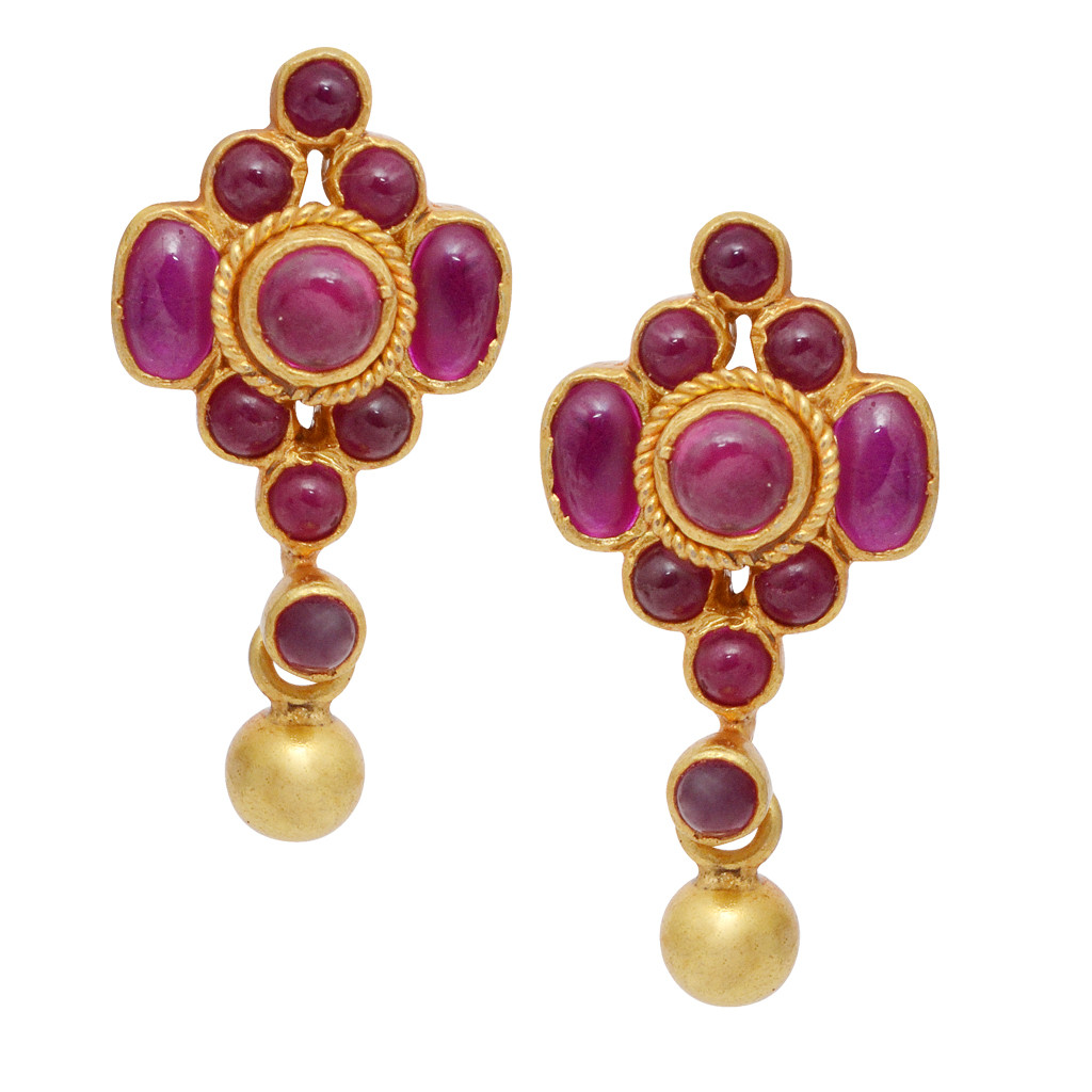 Beautiful Yellow Drop With Red Stone Studded Silver Earrings