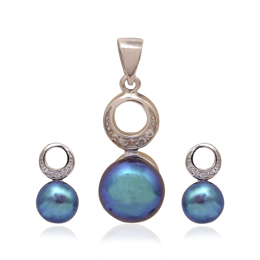 Hanging Blue Ball & Round Shape With Halfmoon Silver Pendant Set