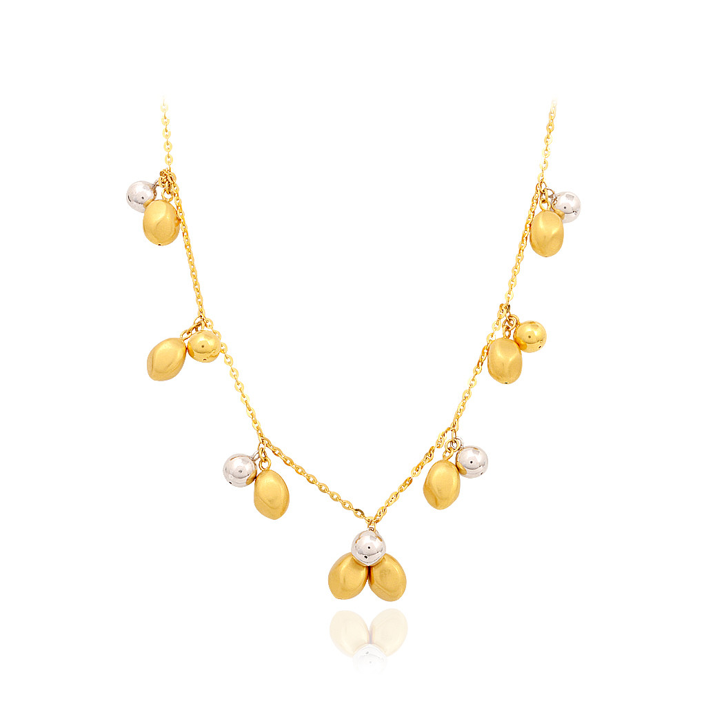 Dancing Duo Tone Balls Yellow Gold Necklace
