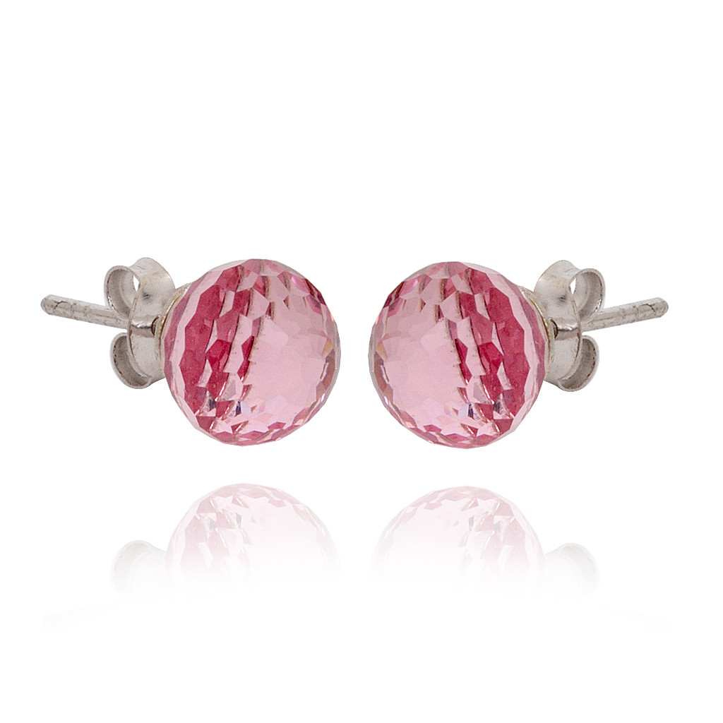 Pink Ball Silver Pendant Set