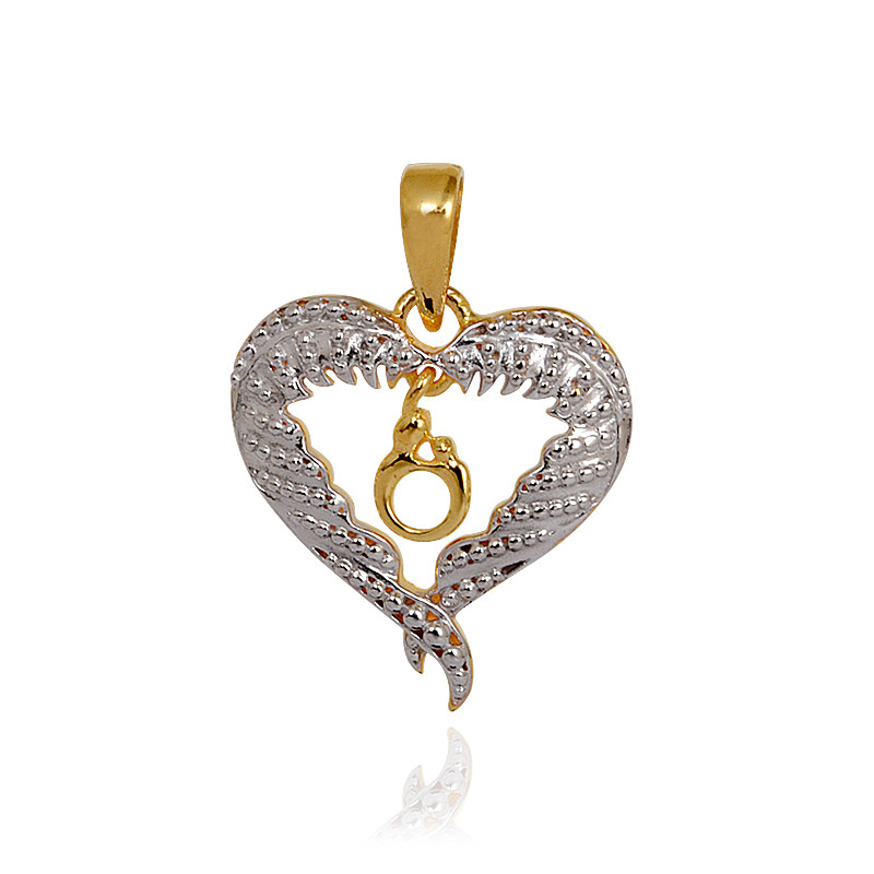 Rhodium Polished Angel Wings Mother and Child Heart Shape Pendant