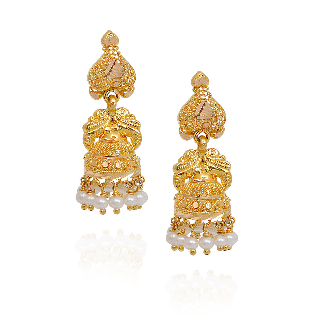 Fancy Pearl Beads With Annapakshi Gold Jimmiki