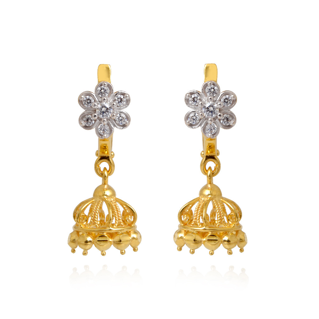 22KT Gold Earrings With White Stone Flower