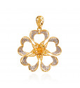 Shiny Flower Covered With Lovable Hearts Gold Pendant