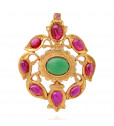 Stunning Silver Pendant With Colour Stones Studded