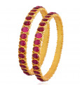 Rich & Rare Collection With Red Stones Studded Silver Ethnic Bangles