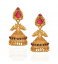 Pear Red Stones Studded Annapakshi Silver Jimmiki