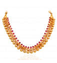 Elegant Yellow Balls With Red Stone Studded Silver Necklace