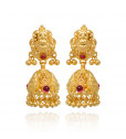 22KT Gold Bead With Red Stone Gold Earrings