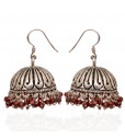 925 Silver Antique Jimmiki with Red Beads