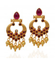 Dancing Yellow Balls With Red Stone Studded Silver Drops Earrings