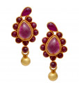 Elegant Dancing Yellow Ball With Red Stones Silver Earrings