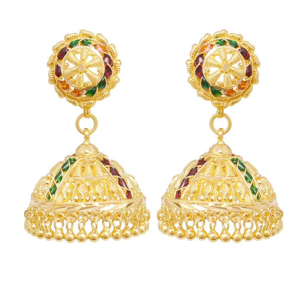 Earrings | 22KT Gold Bead With Colour Stones Earrings